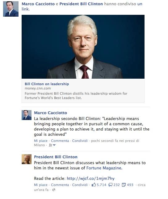 Condivisione con Bill Clinton